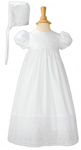Cotton Baptism Gown with Lace Border [LTM060]