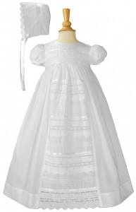 Cotton Baptism Gown with Pin Tucking & Lace Panel [LTM067]