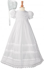 Cotton Batiste Baptism Gown with Cluny Trim [LTM030]