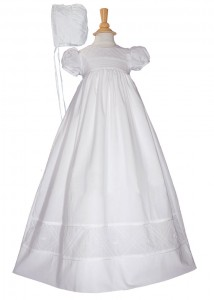 Cotton Christening Gown with Diamond Stitch [LTM0281]