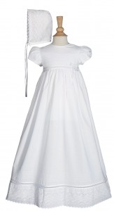 Cotton Christening Gown with Lace Accents [LTM0261]