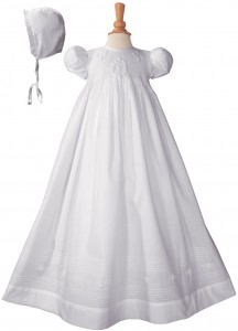 Cotton Embroidered Short Sleeve Long Christening Gown [LTM002]