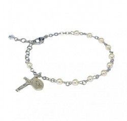 Cream Pearl 4mm First Communion Rosary Bracelet [REBR001a]