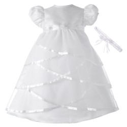 Criss Cross Over Satin Christening Dress [HBB1062]