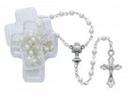 Cross Keepsake Rosary Box and White First Communion Rosary [MV1065]