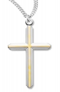 Cross Pendant Gold Plated Sterling Silver Two Tone [RECR1002]