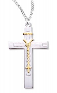 Cross Pendant Sterling Silver Two Tone [RECR1004]