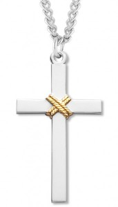 Cross Pendant Sterling Silver Two Tone [RECR1016]