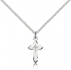 Small Cross Necklace with Etched Tips [BM0168]