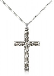 Modern Floral Accent Cross Necklace [BM0181]
