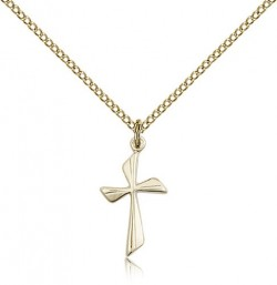 Women's Curved Cross Pendant [CM2070]