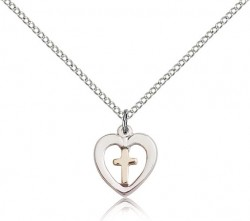 Cross in a Heart Pendant [BC0061]