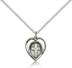 Cross in a Heart Pendant [BC0078]