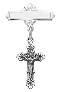 Crucifix Baby Pin - Sterling Silver [MVB1023]