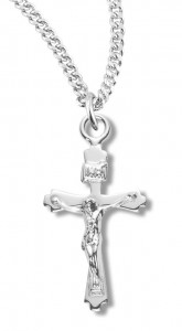 Women's Sterling Silver Petite Crucifix Pendant with Chain [HMR1039]
