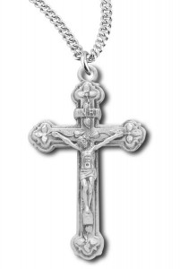 Raised Floral Tip Crucifix Medal Sterling Silver [RECRX1021]