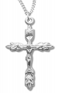 Laurel Leaf Crucifix Medal Sterling Silver [RECRX1055]