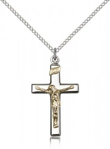 Women's Shiny Classic Crucifix Necklace Two-Tone [BM0294]