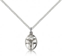 Small Cut-Out Oval Cross and Crucifix Pendant [BC0022]
