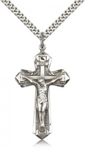 Men's Pointed Edge Crucifix Pendant [BM0267]
