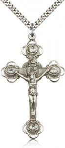 Large Men's Rosebud Tip Crucifix Pendant [BM0270]