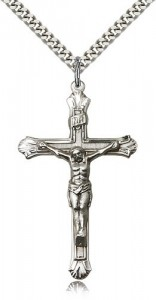 Men's Slim Textured Crucifix Necklace [BM0273]