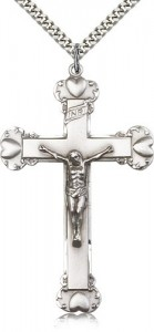 Men's Heart Tip Crucifix Pendant [BM0276]