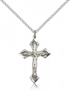 High Polished Point Tip Crucifix Necklace [BM0278]