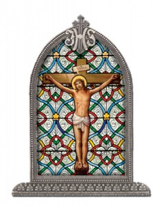 Crucifixion Glass Art in Arched Frame [HFA8301]