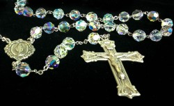 Crystal Aurora Borealis Swarovski Rosary 8mm Miraculous Centerpiece Sterling Silver [HMRB007]