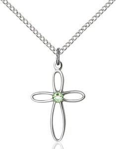 Cut-Out Cross Pendant with Birthstone Options [BLST1707]