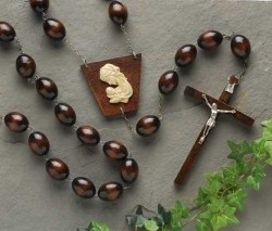 Dark Brown Wood Wall Rosary - 60 inch [WRR003]