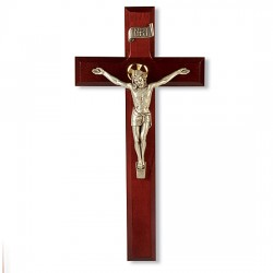 Dark Cherry Crucifix with Antique Silver Corpus - 11 inch [CRX4199]