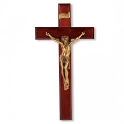 Dark Cherry Wall Crucifix Golden Color Corpus - 12 inch [CRX4243]