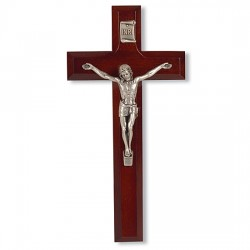 Small Dark Cherry Wall Crucifix with Pewter Jesus Figure - 7 inch [CRX4048]