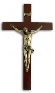 Elegant Dark Wood Wall Crucifix - 14 Inches [GSCH1096]