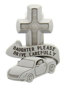 "Daughter Please Drive Carefully Visor Clip, Pewter - 2 1/2""H [AU0107]"