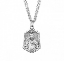 Descending Dove Scapular Medal Sterling Silver Necklace [REM2114]