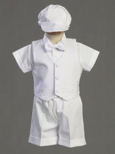 Dexter Polycotton Baptism Short Set with Basketweave Vest  [LCC0022]