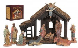 "DiGiovanni Nativity Set with Wood Stable - 6""H Figures [GFCHR1039]"