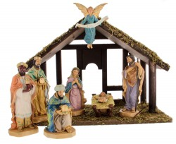 "DiGiovanni Nativity Set with Wood Stable - 7 Piece 6"" Tall [GCHR094]"