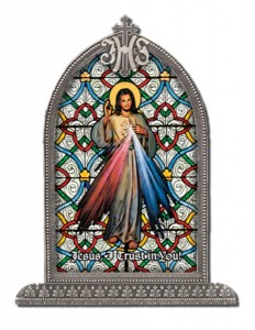Divine Mercy Glass Art in Arched Frame [HFA8302]
