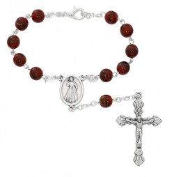 Divine Mercy Red Glass Auto Rosary [AU0069]