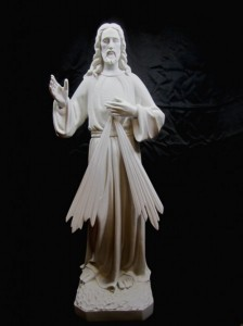 Divine Mercy Statue White Marble Composite - 32 inch [VIC4009]