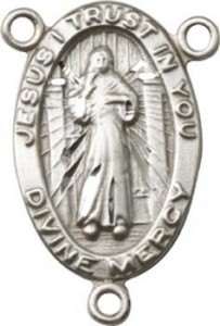 Divine Mercy Sterling Silver Rosary Centerpiece [BLCR0140]