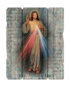 Divine Mercy Wall Plaque in Distressed Wood [HFA4613]