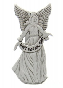 "Don't Text and Drive Guardian Angel Visor Clip, Pewter - 2 3/4""H [AU1031]"