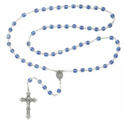 Double Capped Blue Glass Rosary [MVRB1060]