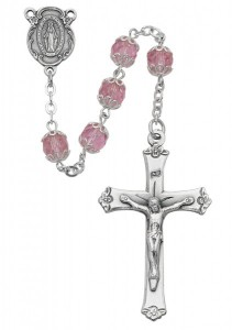 Double Capped Pink Glass Rosary [MVRB1062]