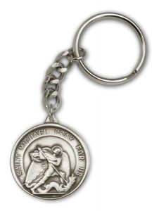 Double Sided St. Michael the Archangel and Guardian Angel Key Chain [AUBKC002]